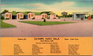 Postcard CA Santa Monica Olympic Auto Villa Hwy 101 Texaco Gas Station 1940s L14