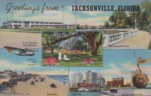 Florida Jacksonville Greetings Multi View Curteich