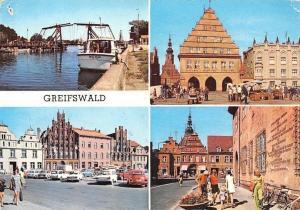 Greifswald Wiecker Bruecke, Rathaus, Platz Markt, Hafen Schiff Town Hall