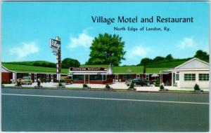 LONDON, Kentucky  KY    Roadside VILLAGE MOTEL Restaurant  c1950s   Postcard