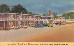 stewart's motel and restaurant  corbin kentucky L4728 antique postcard