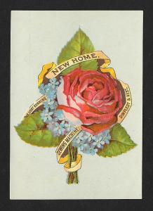VICTORIAN TRADE CARD New Home Sewing Machine Rose
