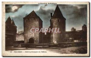 Old Postcard Fougeres main entrance of the Castle