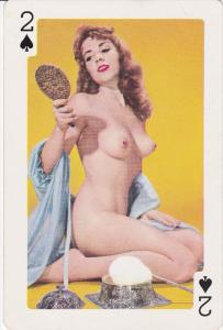 Nude Pin-up Play Card 1950s ; 2 of spades