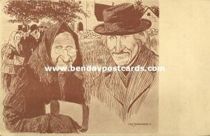 Artist Signed Knut Stangenberg, Old Jewish Couple (1910) JUDAICA