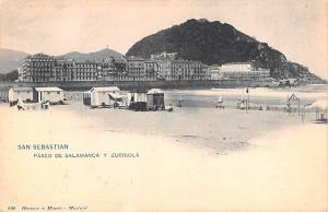 Spain Old Vintage Antique Post Card Paseo de Salamanca y Zurriola San Sebasti...