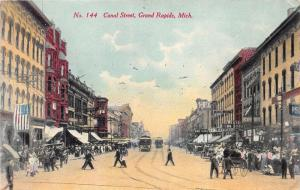 Grand Rapids Michigan~Canal Street~Idlehour~Wests Drug Store~Trolley~c1910 Pc