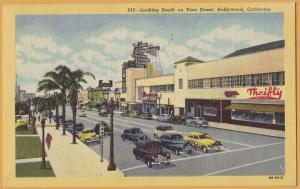 Hollywood, Calif., Looking south on Vine Street, Breneman's & Thrifty Drugs-1950