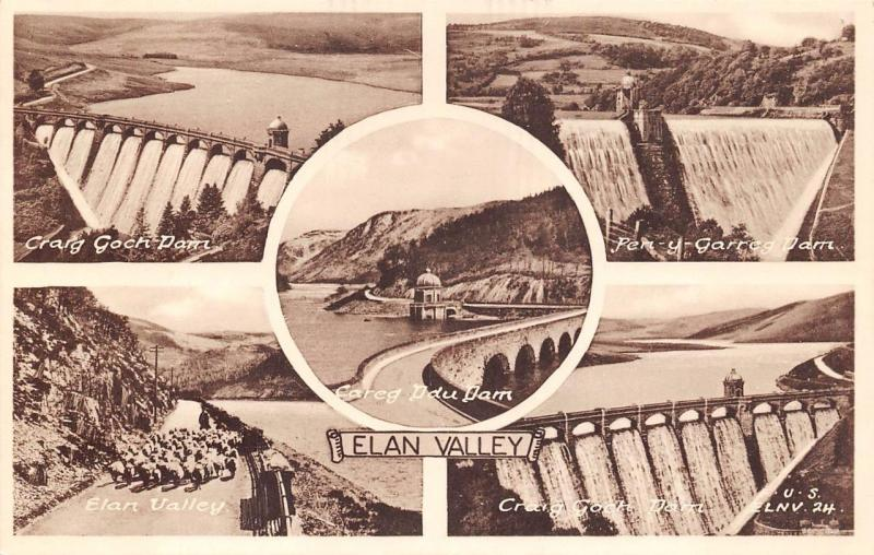 Vintage Sepia Postcard ELAN VALLEY Multiview by F.Frith & Co. Ltd