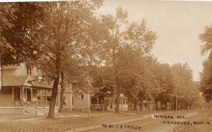 Vicksburg Michigan Avenue Homes~Fraker Real Photo Postcard 1908