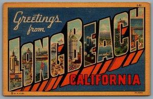 Postcard Long Beach CA c1937 Greetings From Long Beach Large Letter Multi Views