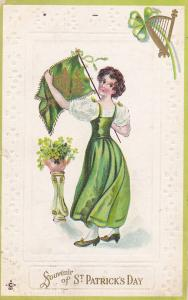SAINT-PATRICK´S DAY; Souvenir, Girl holding flag with harp, Shamrock, PU-1912
