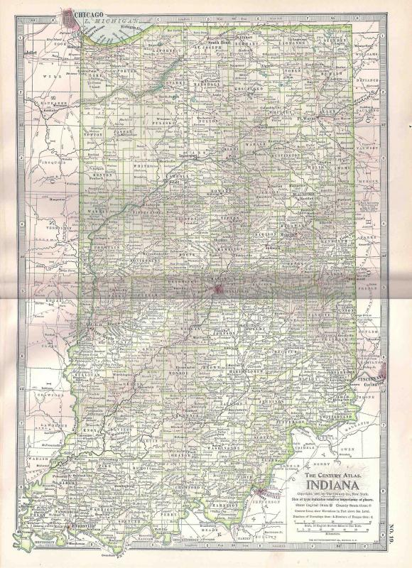 VINTAGE MAP Indiana c1897 from Century Atlas