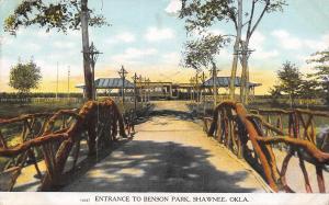 Shawnee Oklahoma~Benson Park Entrance~Trolley Car Waits at Shelter Stop~1909