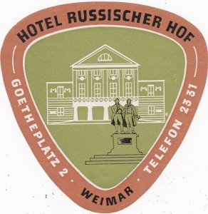 Germany Weimar Hotel Russischer Hof Vintage Luggage Label sk3216