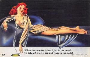 Redhead Beautiful Woman Lounging Modern Girl Comics Poem Curt Teich Postcard