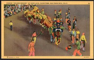 California ~ Parade Golden Dragon of Good Luck, Chinatown SAN FRANCISCO LINEN