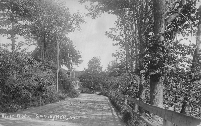 Springfield Vermont~Trees Behind Wood Fence Railing on River Rd RPPC c1910