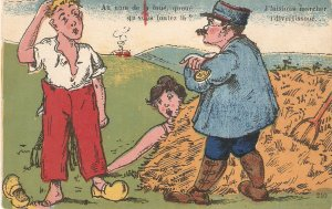 Couple being fined by guardHumorous vintage French postcard