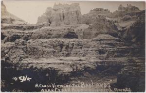 RP; CEDAR PASS , South Dakota, 1900-10s; A Close View of the Badlands