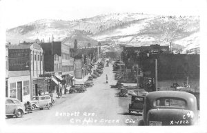 RPPC, Cripple Creek CO Colorado  BENNETT AVENUE Street Scene   1952 Postcard