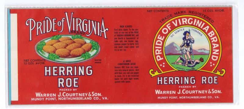 Pride of Virginia Herring Roe Mundy Point VA Can Label