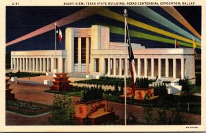 Texas Dallas Texas State Building At Night Texas Centennial Exposition Curteich