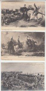 P2212, old postcard 3 dif military battle of waterloo scenes 2 wellington unused