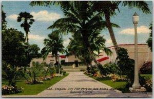 1940s Sebring, Florida Postcard Tropical City Pier Park on Rex Beach Lake