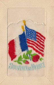 WAR 1914-18 ; Flags of USA & France ; Embroidered