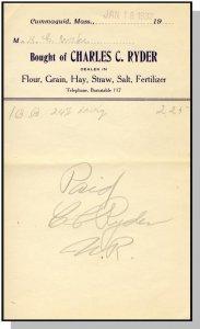1932 Charles C. Ryder Billhead, Cummaquid, Massachusetts/MA