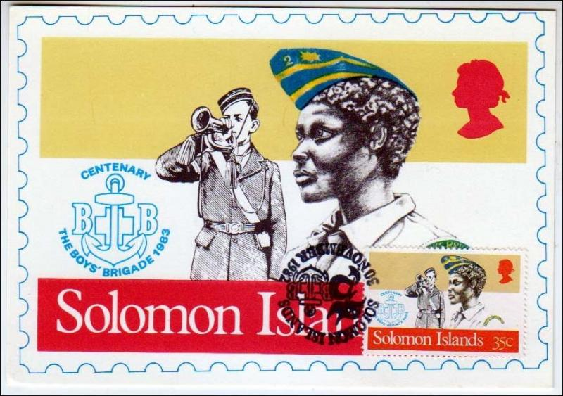 Boy Scout, Solomon Islands (with stamp)