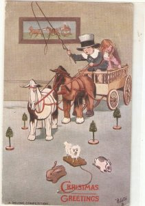 A driving competition. Children. Toy horses Tuck mOilette Christmas PC # C217