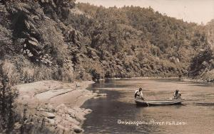 On Wanganui River, New Zealand, Early Real Photo Postcard, Unused