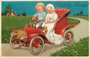 PFB Babies Drive Vintage Red Auto Thru Spring Countryside~Baby Bottle~Lace~Embos