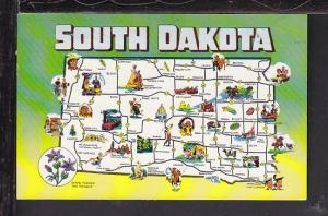 Map South Dakota Postcard
