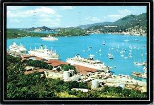 postcard  U.S. Virgin Islands - Cruise Ships at St. Thomas