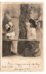 Victorian Children Hats Playing Dress Up I See You Postcard