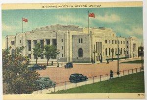 Vintage Old Linen Era Postcard Winnipeg Auditorium Winnipeg, Manitoba, Canada