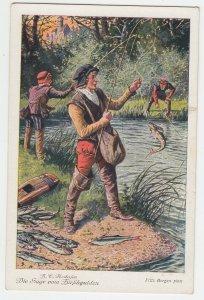 P2140, old postcard fishing die sage vom tirfchgulden, 3 people fishing waterway