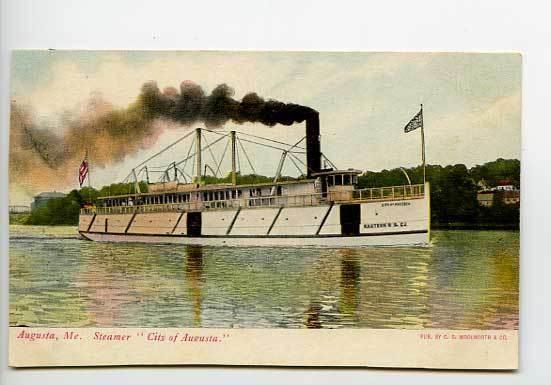 City of Augusta ME Steam Ship Postcard
