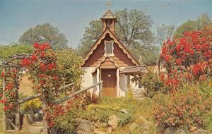 Rough & Ready California~Little Wedding Chapel~Red Flower Bowers~1960s Postcard