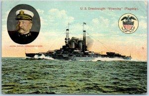 Vintage 1914 U.S. Navy Ship Postcard U.S. Dreadnought WYOMING (Flagship)