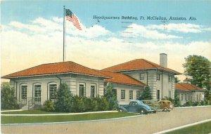 Fort McClellan Headquarters Bldg, Anniston Alabama 1939 Linen Postcard