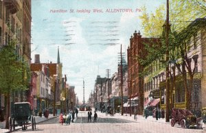 12415 Trolleys, Wagons, Autos on Hamilton Street, Allentown, Pennsylvania 1908