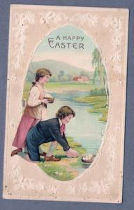 Easter Greetings - Boy & Girl Gathering Eggs - Writing On Back - Not Posted