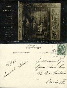 malta, St. John's Church Tapestry presented by G.M. Perellos No. 14 (1911) RPPC