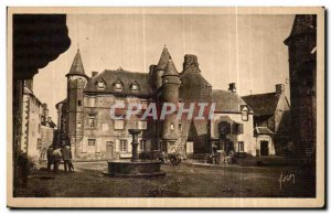 Old Postcard Salers (Cantal) Grand Place House Sevestre