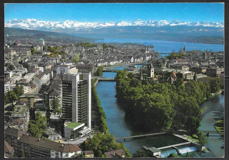 Switzerland, Zurich, Hotel Zurich on river, mailed in 1984