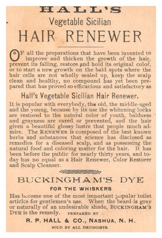 Hall's Vegetable Hair Renewer  2 Trade cards